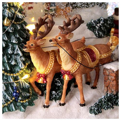 Palla di vetro neve slitta Babbo Natale carillon luci 20x20x20 cm 2
