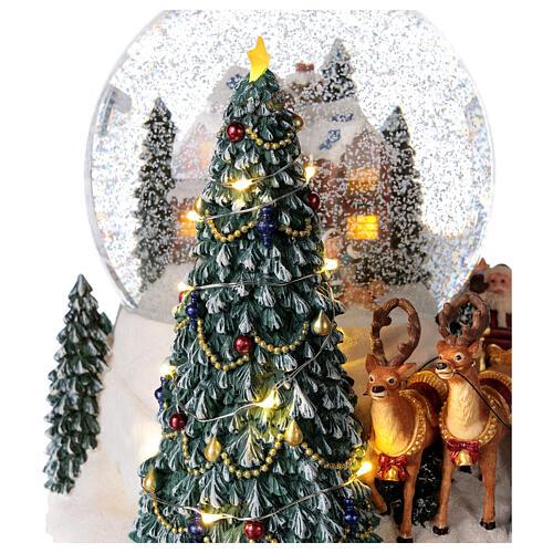 Palla di vetro neve slitta Babbo Natale carillon luci 20x20x20 cm 4