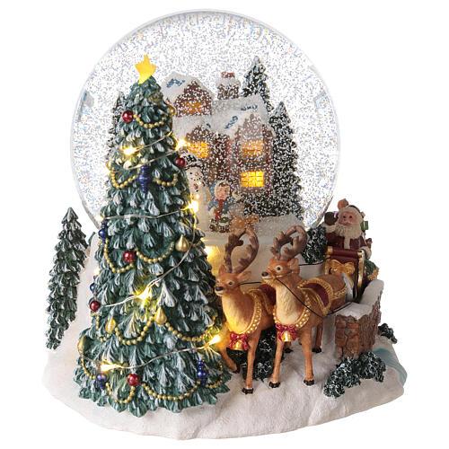 Palla di vetro neve slitta Babbo Natale carillon luci 20x20x20 cm 5