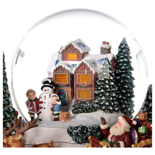 Palla di vetro neve slitta Babbo Natale carillon luci 20x20x20 cm 6