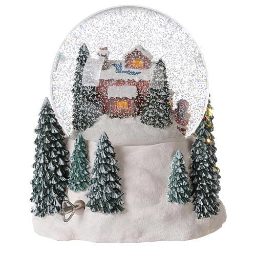 Palla di vetro neve slitta Babbo Natale carillon luci 20x20x20 cm 7