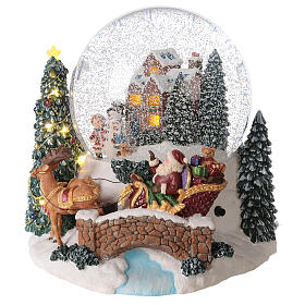 Christmas snow globe Santa Claus sleigh music lights 20x20x20 cm s3
