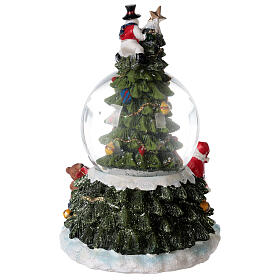 Christmas tree snow globe Santa music 15x10x10 cm s8