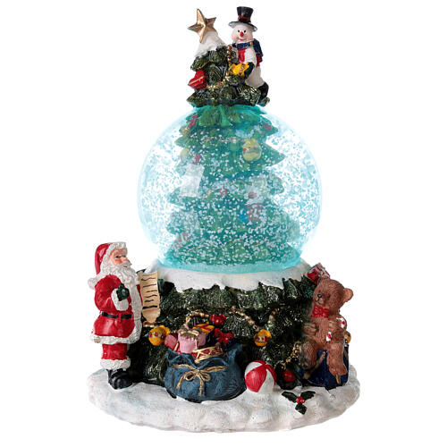 Christmas tree snow globe Santa music 15x10x10 cm 1