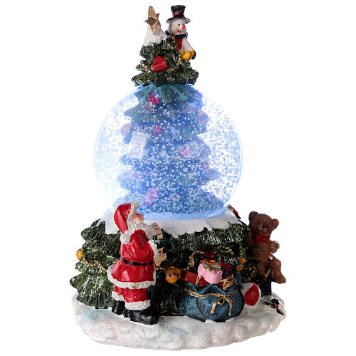 Christmas tree snow globe Santa music 15x10x10 cm 5