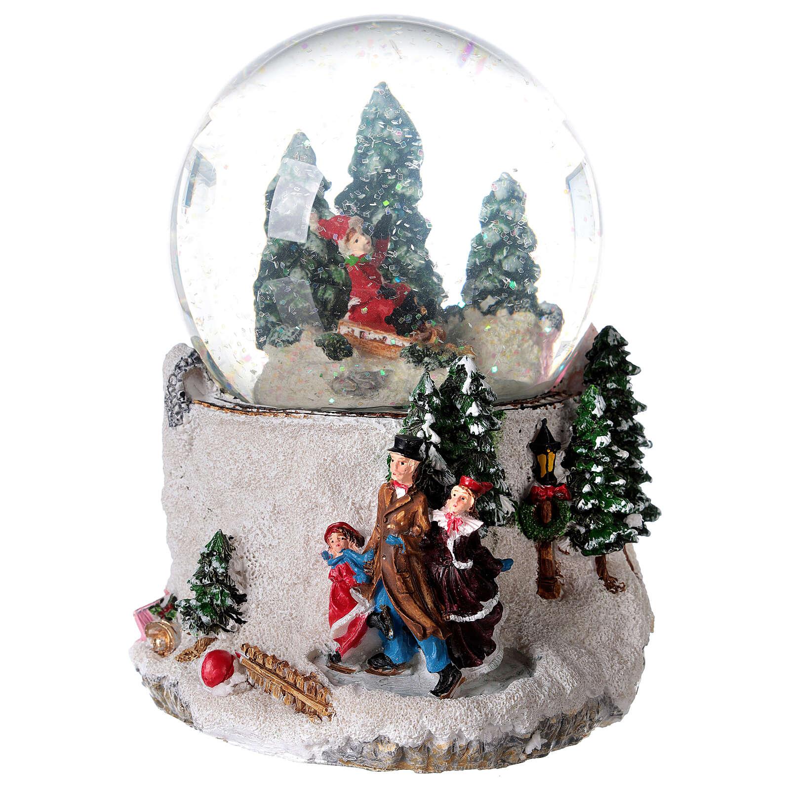Boule à neige verre enfant en traîneau neige boîte musicale 15x15x15 cm 3