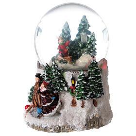 Boule à neige verre enfant en traîneau neige boîte musicale 15x15x15 cm s3