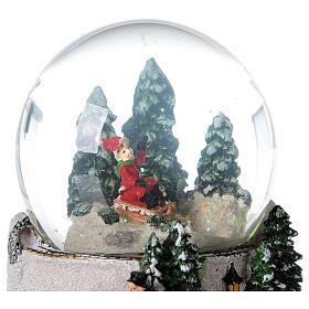 Boule à neige verre enfant en traîneau neige boîte musicale 15x15x15 cm s4