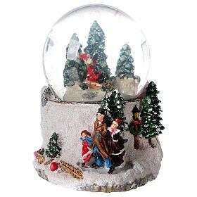 Boule à neige verre enfant en traîneau neige boîte musicale 15x15x15 cm s5
