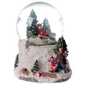 Boule à neige verre enfant en traîneau neige boîte musicale 15x15x15 cm s6