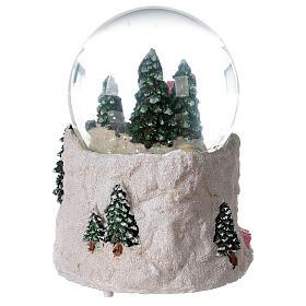 Boule à neige verre enfant en traîneau neige boîte musicale 15x15x15 cm s7