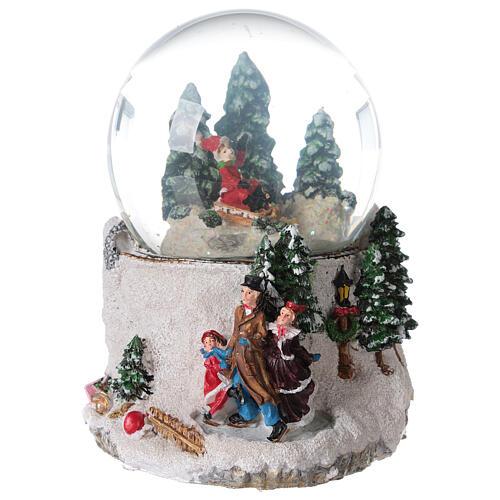 Boule à neige verre enfant en traîneau neige boîte musicale 15x15x15 cm 1