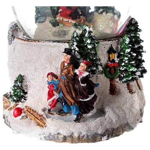 Boule à neige verre enfant en traîneau neige boîte musicale 15x15x15 cm 2