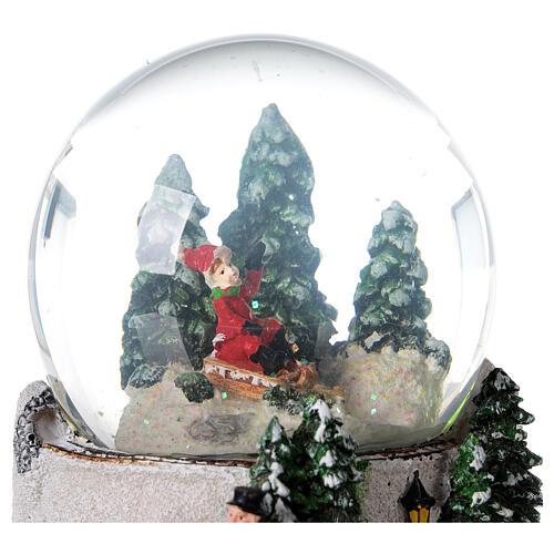 Boule à neige verre enfant en traîneau neige boîte musicale 15x15x15 cm 4