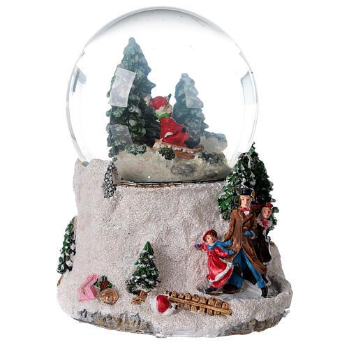 Boule à neige verre enfant en traîneau neige boîte musicale 15x15x15 cm 6