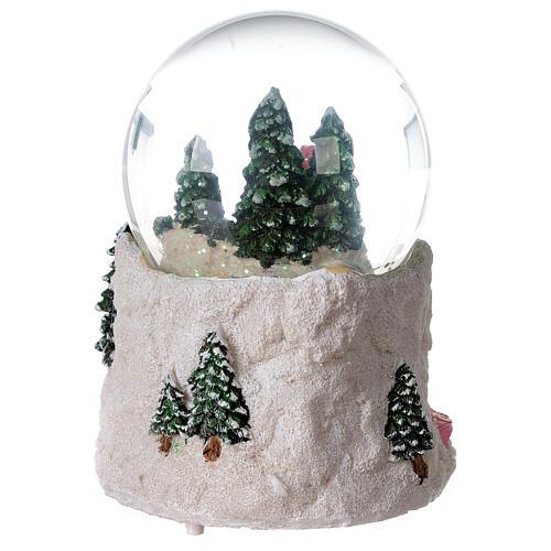 Boule à neige verre enfant en traîneau neige boîte musicale 15x15x15 cm 7