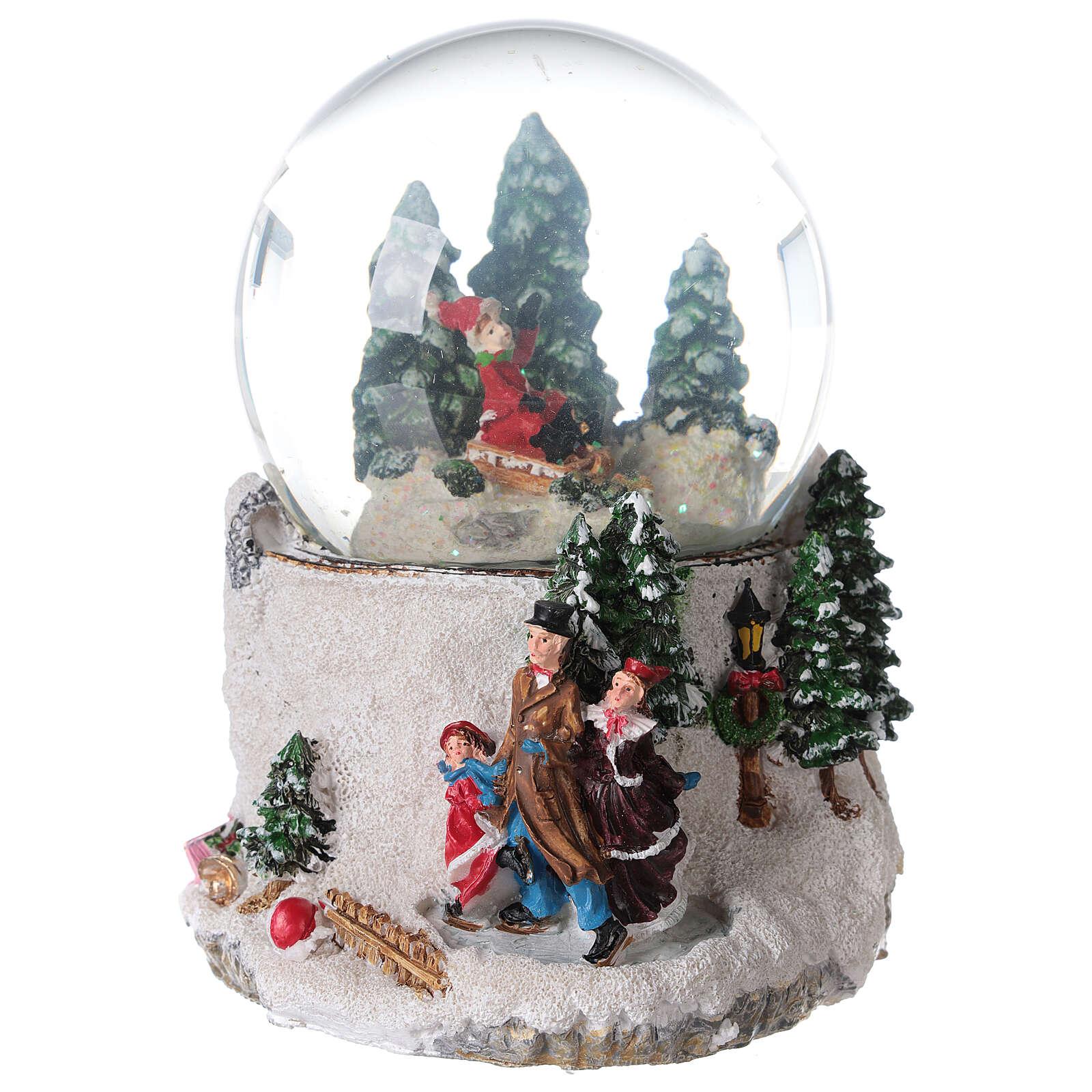 Musical snow globe ice skaters 15x15x15 cm 3