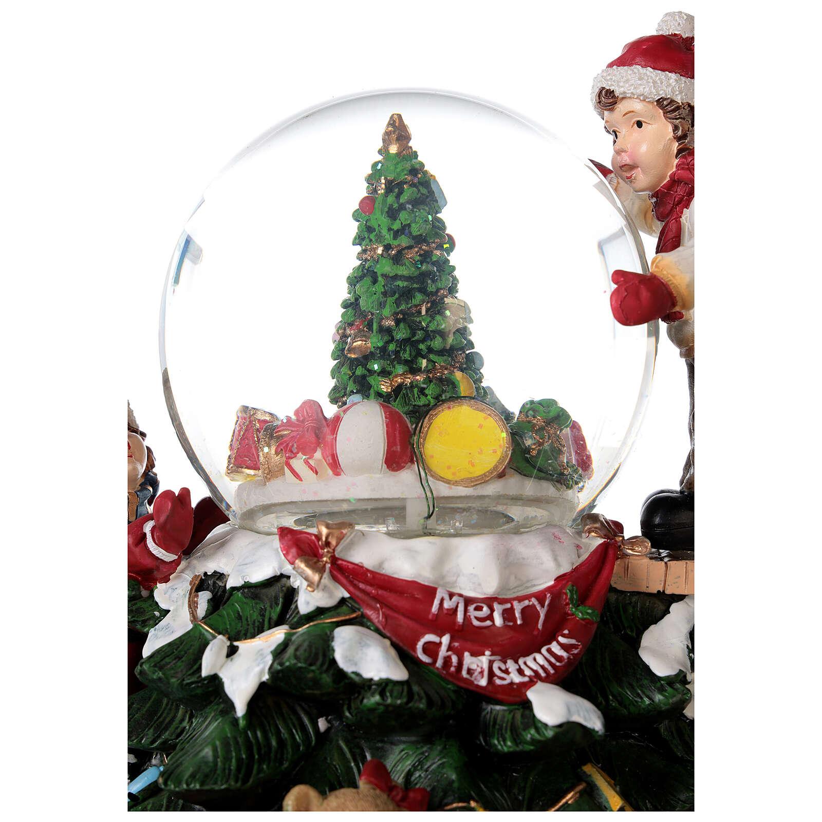 Glitter snow globe children tree lights music 20x20x20 cm 3