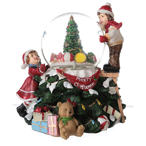 Glitter snow globe children tree lights music 20x20x20 cm 8