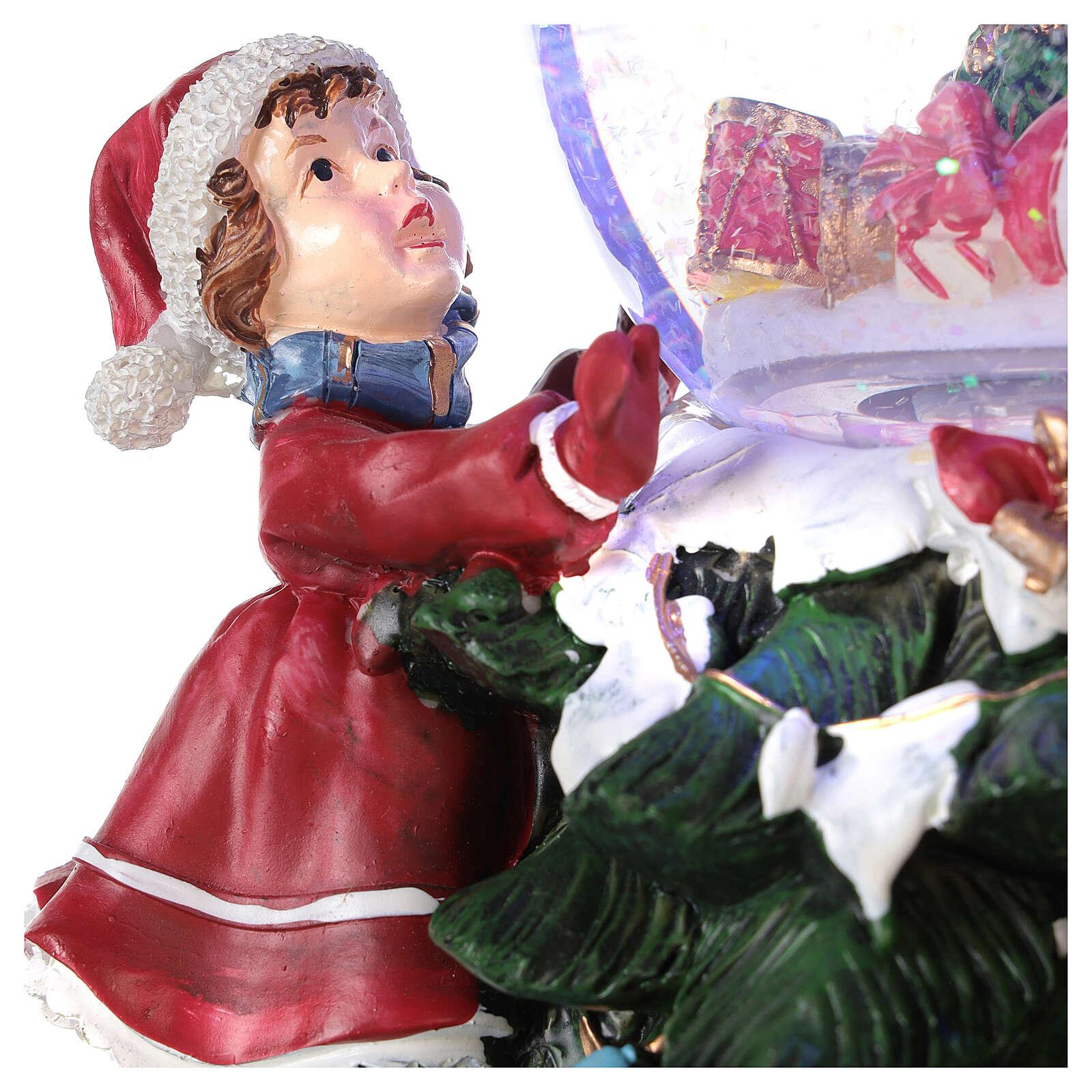 Boule en verre neige paillettes enfants sapin lumières et musique 20x20x20 cm 3