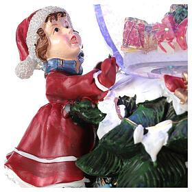 Boule en verre neige paillettes enfants sapin lumières et musique 20x20x20 cm s3