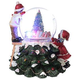 Boule en verre neige paillettes enfants sapin lumières et musique 20x20x20 cm s6
