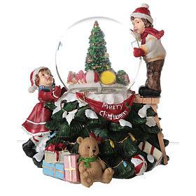 Boule en verre neige paillettes enfants sapin lumières et musique 20x20x20 cm s8