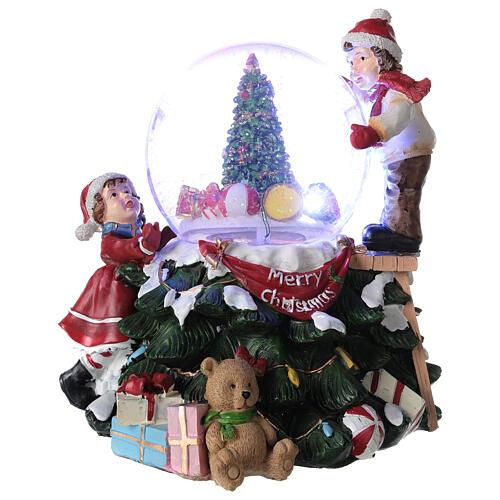 Boule en verre neige paillettes enfants sapin lumières et musique 20x20x20 cm 1