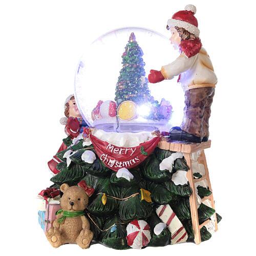 Boule en verre neige paillettes enfants sapin lumières et musique 20x20x20 cm 2