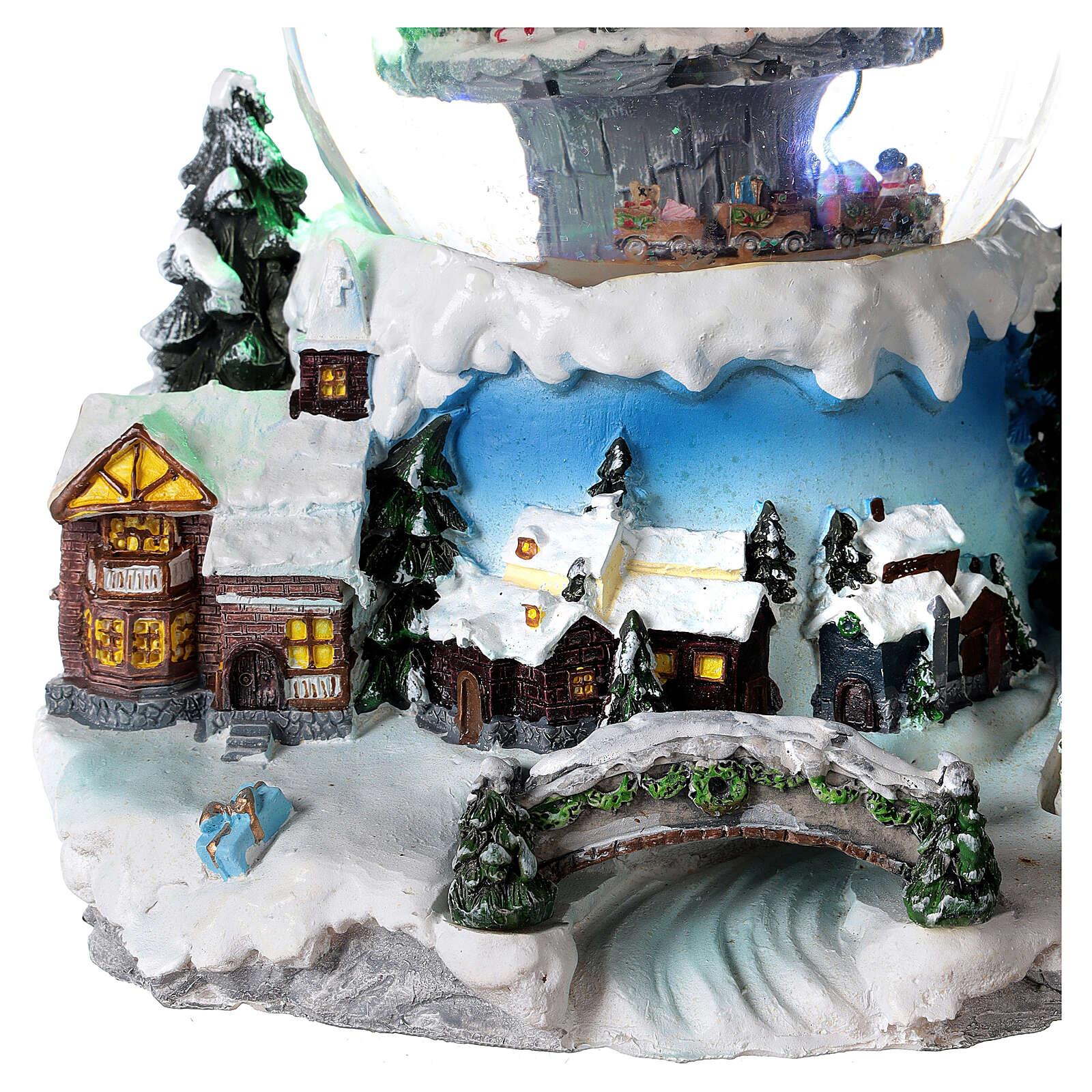 Snow globe winter village train music 20x20x20 cm 3