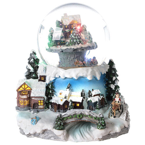 Snow globe winter village train music 20x20x20 cm 1