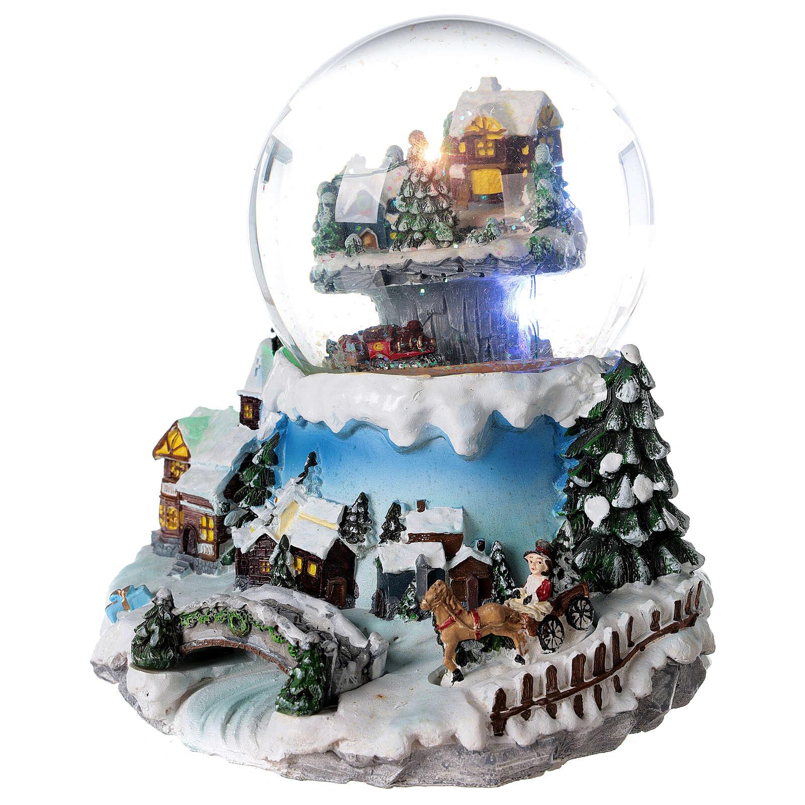 Boule à neige verre village neige train et musique 20x20x20 cm 3
