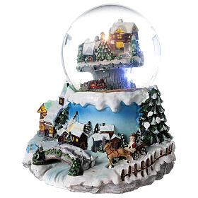 Boule à neige verre village neige train et musique 20x20x20 cm s3