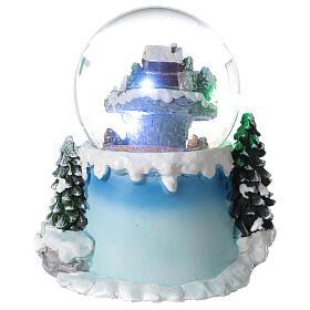Boule à neige verre village neige train et musique 20x20x20 cm s7