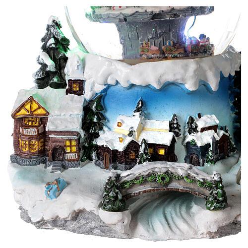 Boule à neige verre village neige train et musique 20x20x20 cm 2