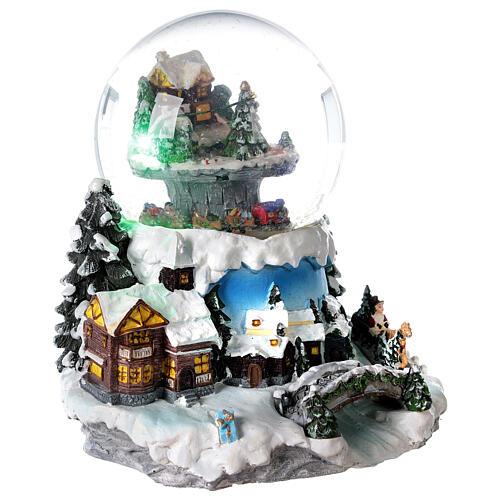 Boule à neige verre village neige train et musique 20x20x20 cm 5