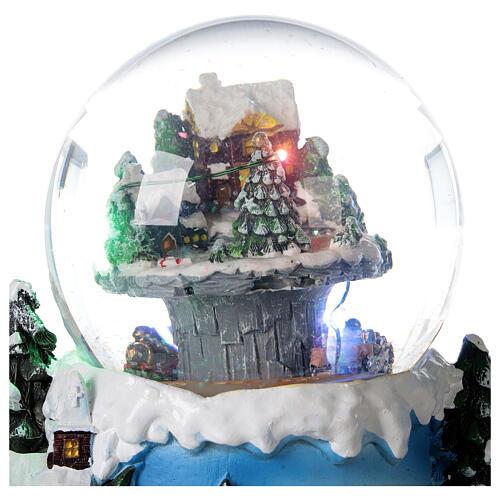 Boule à neige verre village neige train et musique 20x20x20 cm 6