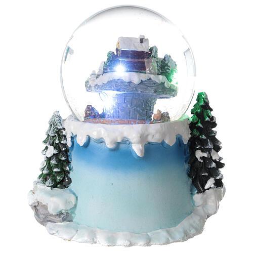 Boule à neige verre village neige train et musique 20x20x20 cm 7