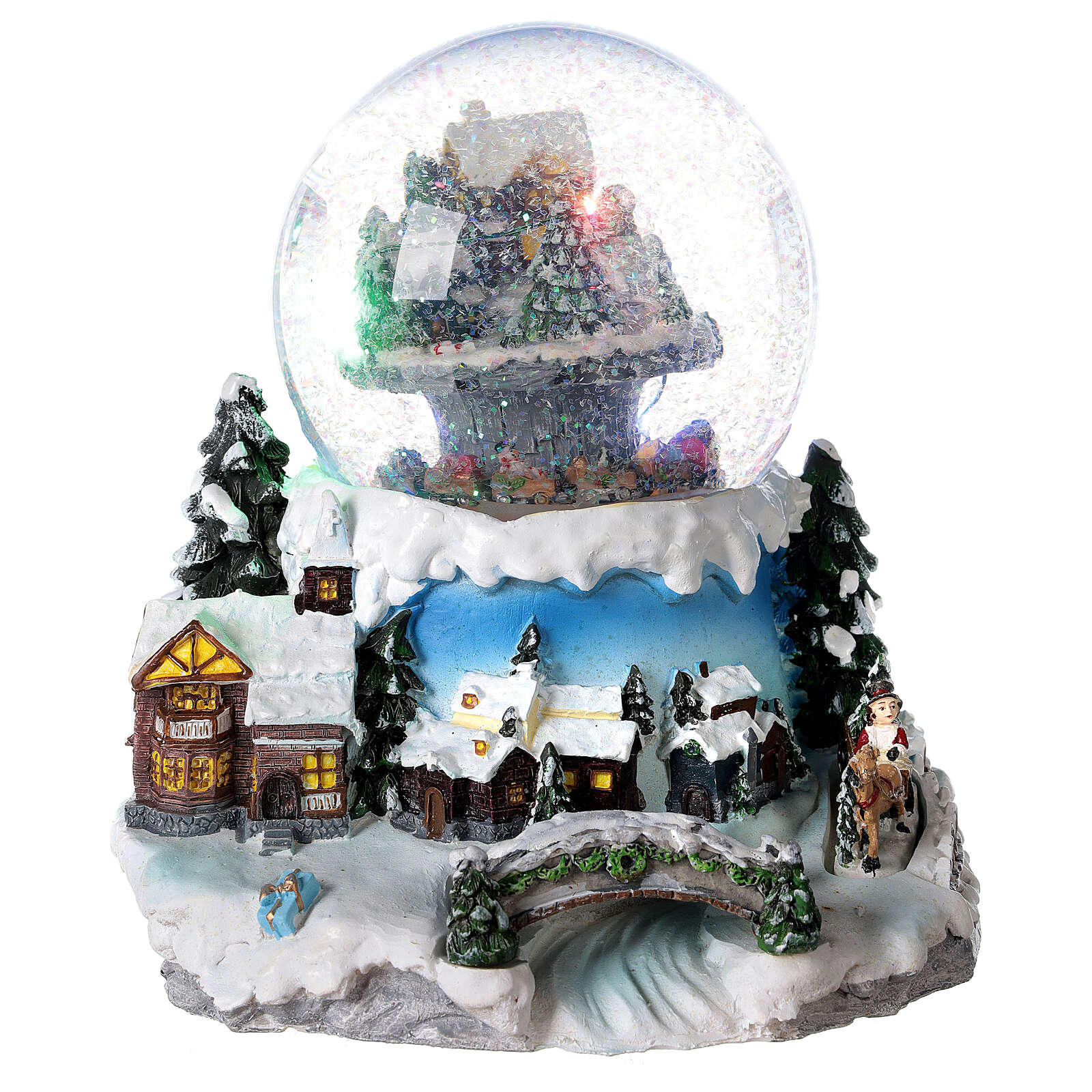 Palla di vetro villaggio neve treno musica 20x20x20 cm 3