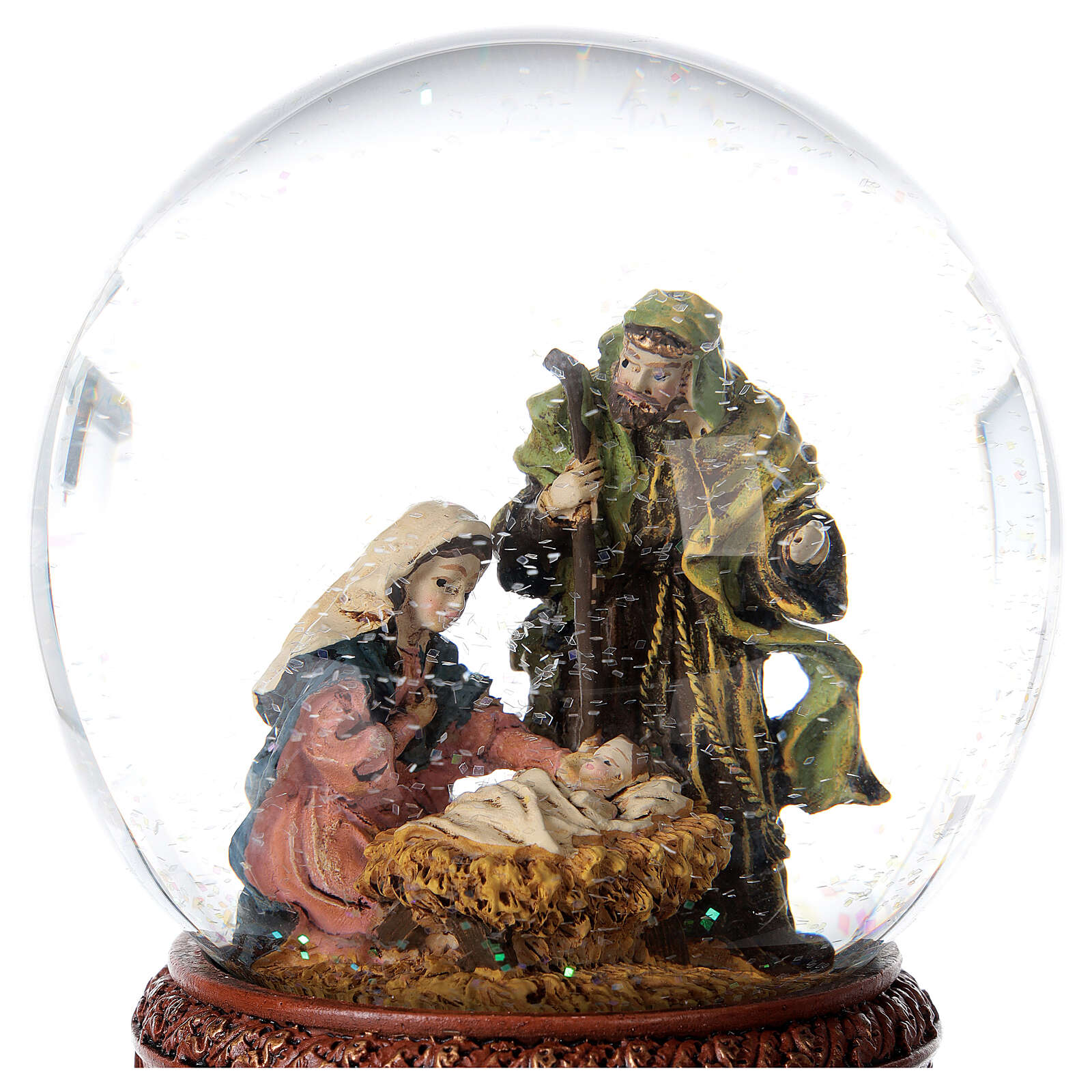 Boule à neige Nativité boîte musicale Douce nuit paillettes 15x10x10 cm 3