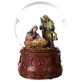 Boule à neige Nativité boîte musicale Douce nuit paillettes 15x10x10 cm s1
