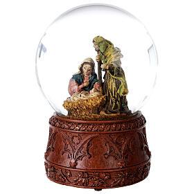 Boule à neige Nativité boîte musicale Douce nuit paillettes 15x10x10 cm s3