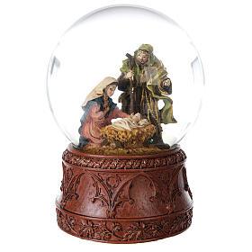 Boule à neige Nativité boîte musicale Douce nuit paillettes 15x10x10 cm s4