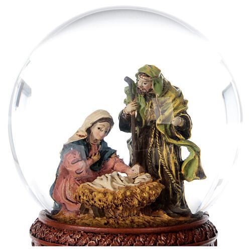 Boule à neige Nativité boîte musicale Douce nuit paillettes 15x10x10 cm 5