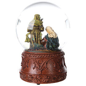 Snow globe Holy Family Silent Night glitter 15x10x10 cm s7