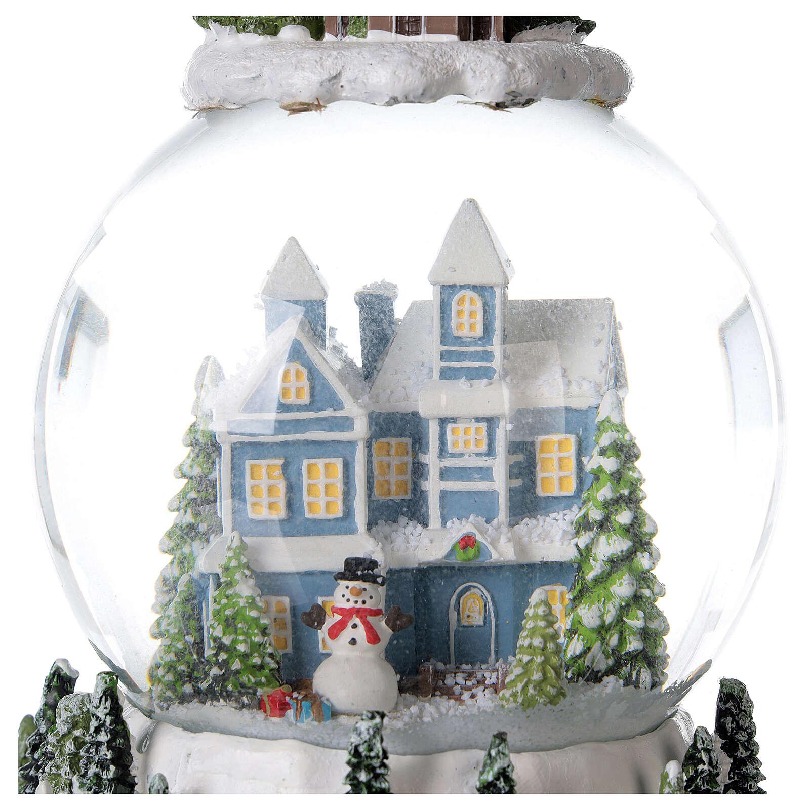Musical snow globe snowy house blue tree 15x10x10 cm 3