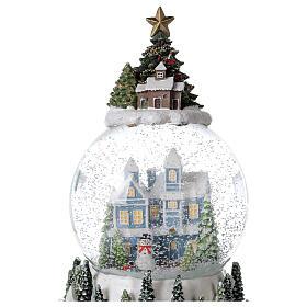 Musical snow globe snowy house blue tree 15x10x10 cm s2