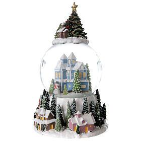 Musical snow globe snowy house blue tree 15x10x10 cm s3
