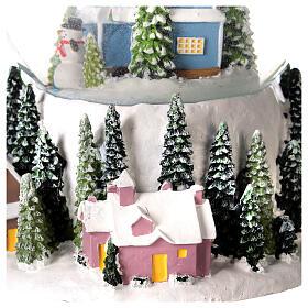 Musical snow globe snowy house blue tree 15x10x10 cm s4