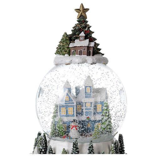 Musical snow globe snowy house blue tree 15x10x10 cm 2